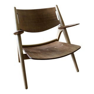 Mid-Century Modern Hans Wegner for Carl Hansen Oak and Walnut Lounge Chhair