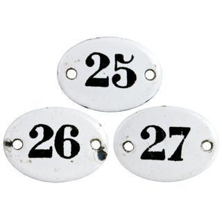 Vintage French Enamel Hotel Room Numbers - Set of 3 For Sale