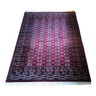 1990s Vintage Lahore Bokhara Hand-Knotted Area Rug - 6′ × 9′ For Sale