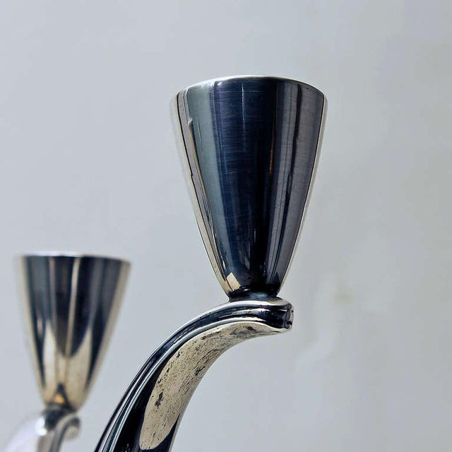 Silver 1940s Pair of Silver Candelabras, 3 Arms, 4 Candles, Spain For Sale - Image 8 of 11