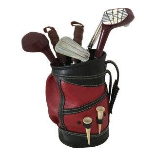 Vintage Golf Bag Mixology Bar Tools - 7 Piece Set For Sale