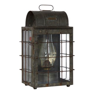 Early 20th Century National Marine Lamp Co. Bulkhead Lantern Oil Lamp For Sale