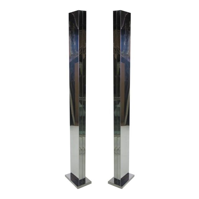 Pair of Chrome Torchieres by Casella For Sale
