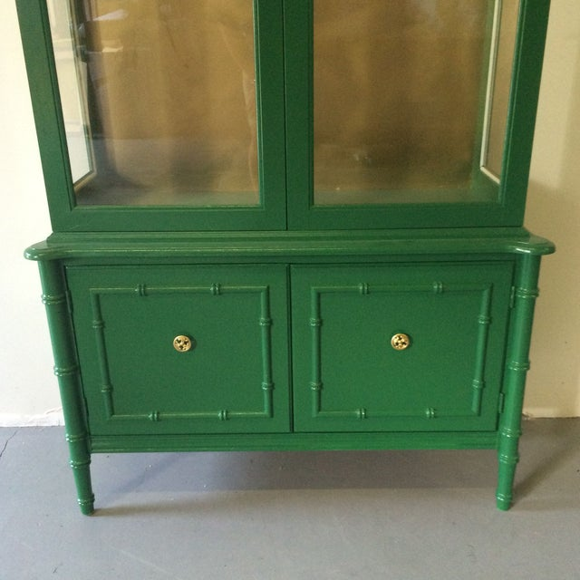 Vintage Green/Gold Bamboo Hutch For Sale - Image 4 of 8