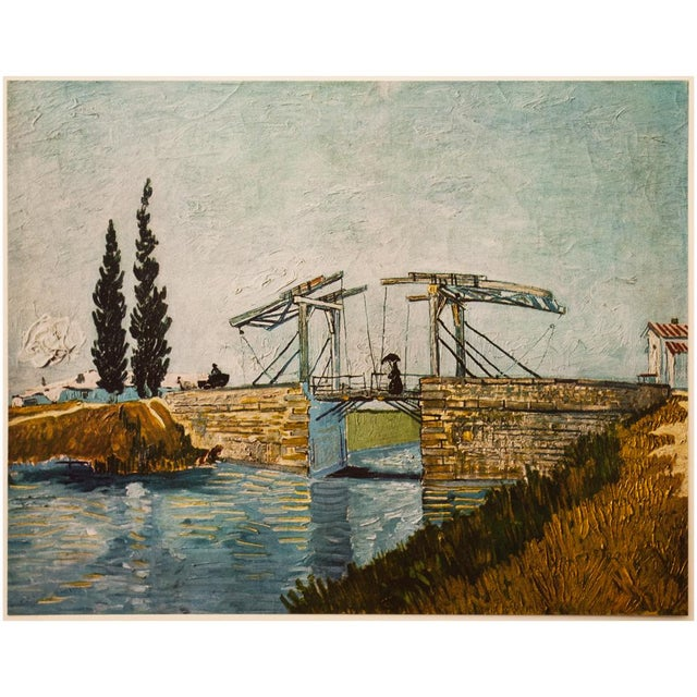 """Circa 1950s Post-Impressionist tipped-in lithograph after oil painting """"The Drawbridge"""" (May 1888, Arles) by Vincent Van..."""