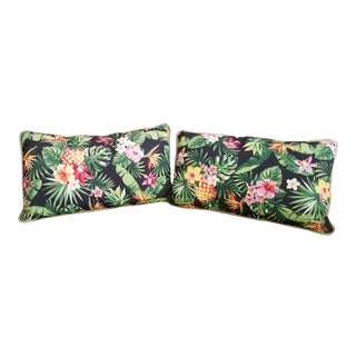 Stratford Outdoor Canvas Accent Lumbar Pillows With Inserts - a Pair For Sale