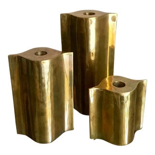 1980s Boho Chic Chunky Shapely Brass Candle Holders - Set of 3
