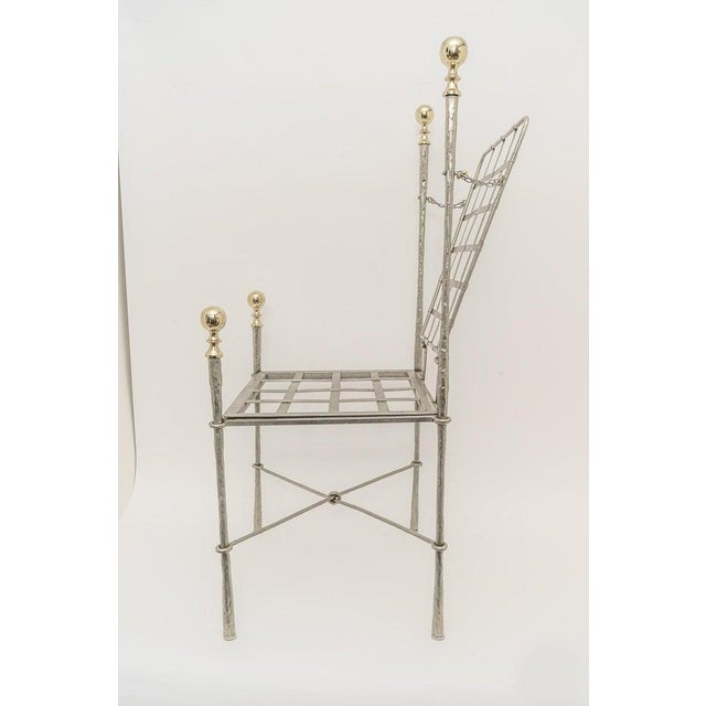 Mid 20th Century Campaign Style Dining Indoor/Outdoor Chairs in Steel and Brass by Mario Papison for Salterini - a Set of 6 For Sale - Image 5 of 13