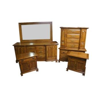 Solid Golden Walnut Bedroom Set For Sale