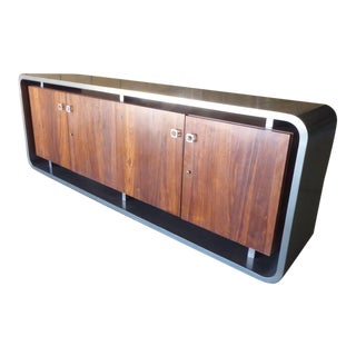 Waterfall-Edge Rosewood & Metal-Coated Credenza Attributed to Steve Chase C. 1970s For Sale