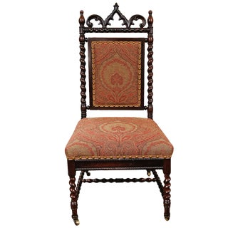 Gothic Revival Walnut Side Chair on Casters For Sale
