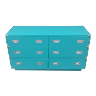 Vintage Dixie Turquoise Painted Campaign Dresser