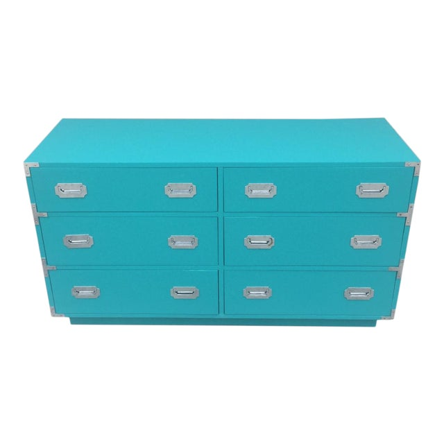 Vintage Dixie Turquoise Painted Campaign Dresser For Sale