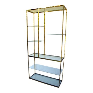 Mid Century Milo Baughman Brass and Glass Étagère For Sale