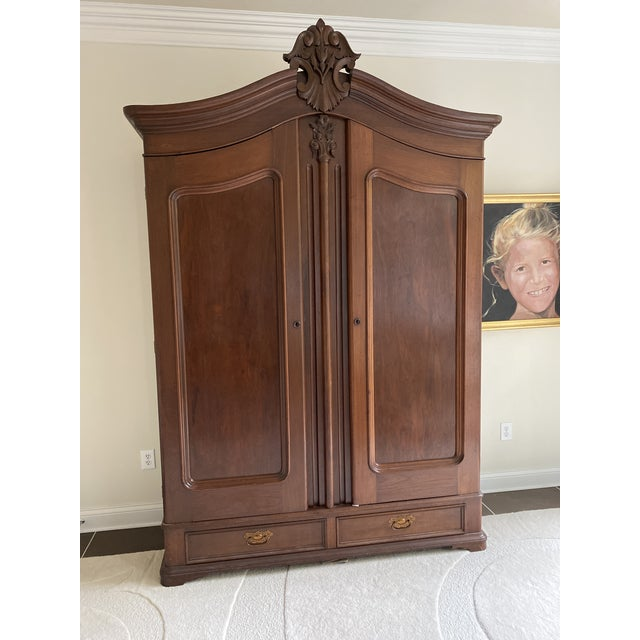 Wood Antique French Wooden Wardrobe For Sale - Image 7 of 7