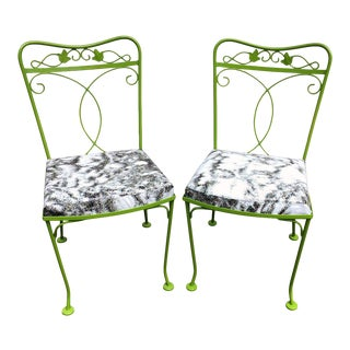 Green Painted Upcycled Chairs - A Pair For Sale
