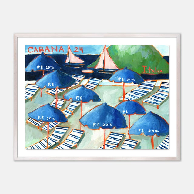 Contemporary Cabanas 24 by Lulu DK in White Wash Framed Paper, Medium Art Print For Sale - Image 3 of 3