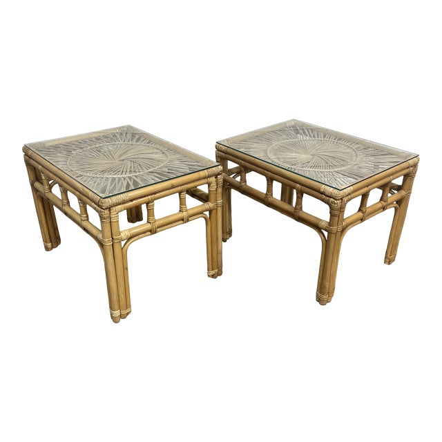 Bamboo & Wicker Glass Top End Tables For Sale