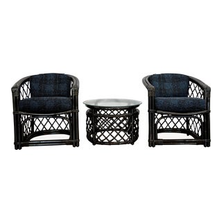 Metallic Rattan Curve Chairs and Side Table - Set of 3 For Sale