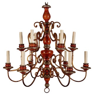 Italian Painted Wood and Scrolled Gilt Metal Twelve Light Chandelier
