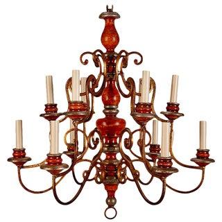 Italian Wood and Scrolled Gilt Metal Twelve Light Chandelier For Sale