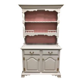 Vintage Taupe Painted Hutch Cabinet
