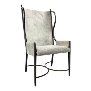 Global Views Modern Hair on Hide Iron Wingback Chair For Sale