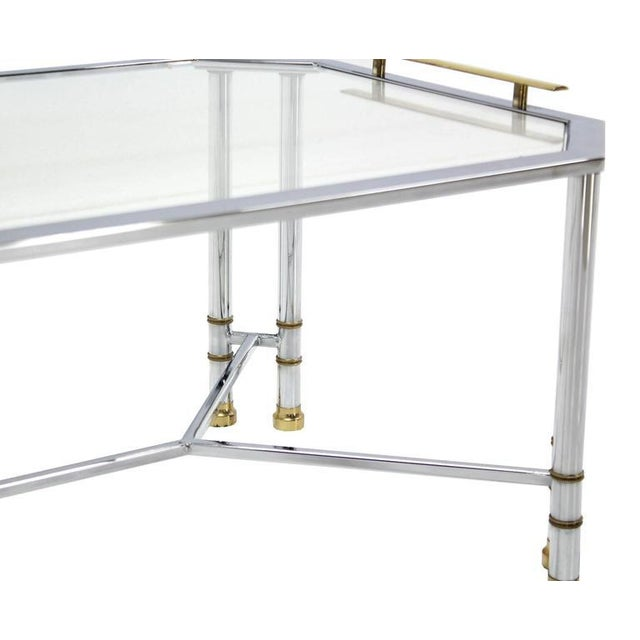 Mid Century Modern Chrome Brass Glass Rectangular Coffee Table For Sale - Image 6 of 8