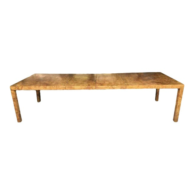 Milo Baughman for Directional Burl Wood Parsons Dining Table with Two Boards - Image 1 of 10