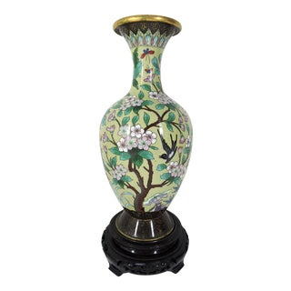 Mid 20th Century - Republic Period Chinese Peony & Prunus Cloisonné Vase With Wood Stand For Sale