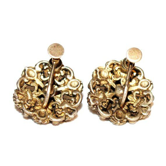Lovely Austro Hungarian ornate gold-plated 835 silver screw-back earrings bezel set with cultured pearls and coral...