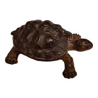 1920's Bronze Tortoise Mounted on an Alabaster Disc For Sale