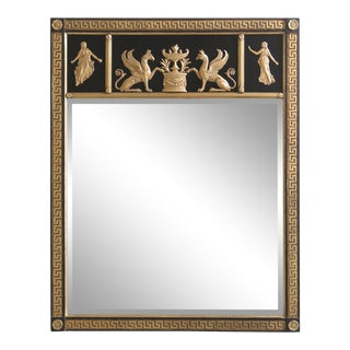 Friedman Brothers Neoclassical Style Black & Gold Mirror For Sale