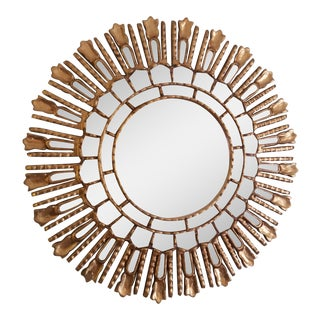Wooden Gold Sunburst Mirror