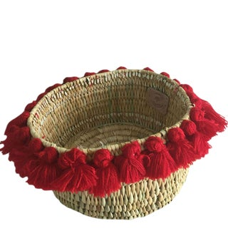 Moroccan Red Tassel Small Basket For Sale