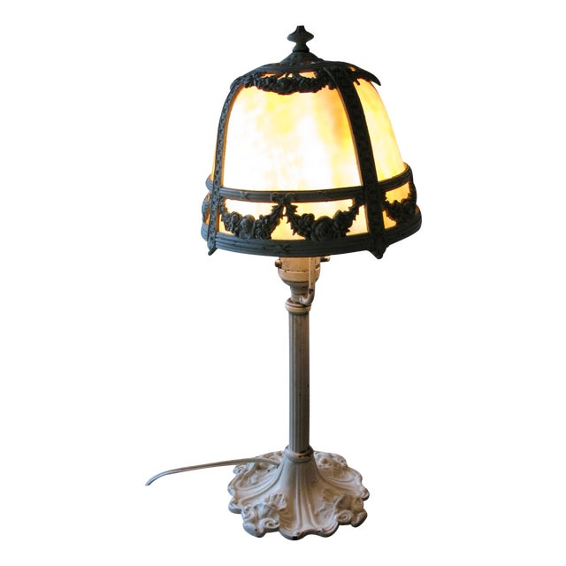 Cream Iron and Brass Slag Glass Lamp - Image 8 of 8