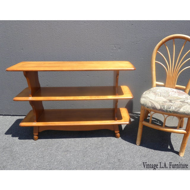 Danish Modern Vintage Mid-Century Modern 3 Tier Maple Bookcase For Sale - Image 3 of 11
