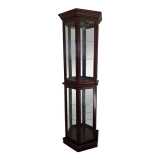 "1980s Pulaski Preference 70""h Half Round Trapezoid Mirrored Cherry Wood Curio Display Cabinet For Sale"