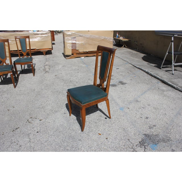 1940s French Art Deco Solid Mahogany Dining Chairs by Jules Leleu - Set of 6 For Sale - Image 11 of 13