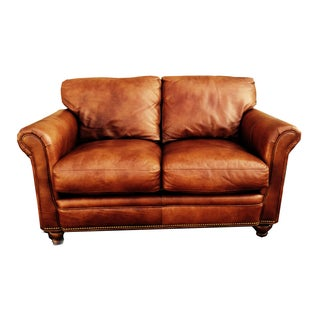 Bradington & Young Brown Leather Loveseat Sofa