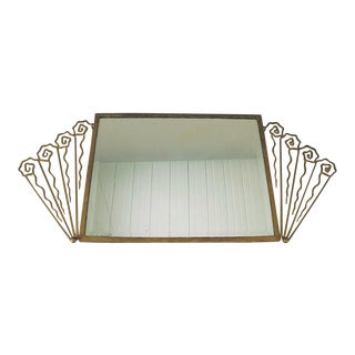 French Art Deco Wrought Iron Wall Mirror For Sale