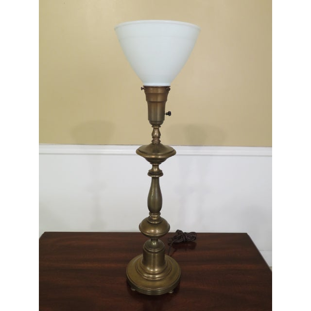 Item: F45281EC: Vintage Brass Table Lamp w. Tole Metal Shade Age: Approx: 50 Years Old Details: Nice Decorative Lamp Ready...