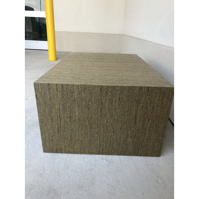 Coffee Grasscloth Greek Key Coffee Table For Sale - Image 8 of 13