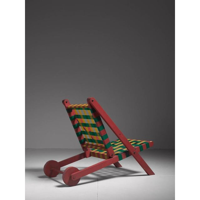 Modern Folding Red Wood Indoor Outdoor Lounge Chair with Webbing, USA, 1950s For Sale - Image 3 of 6