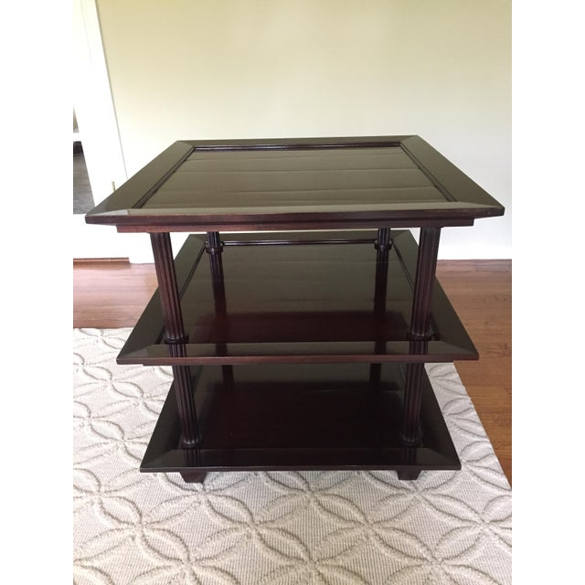 Barbara Barry for Baker Three Tiered Side Table. Hand planed mahogany side table in java stain. Purchase in 2006.