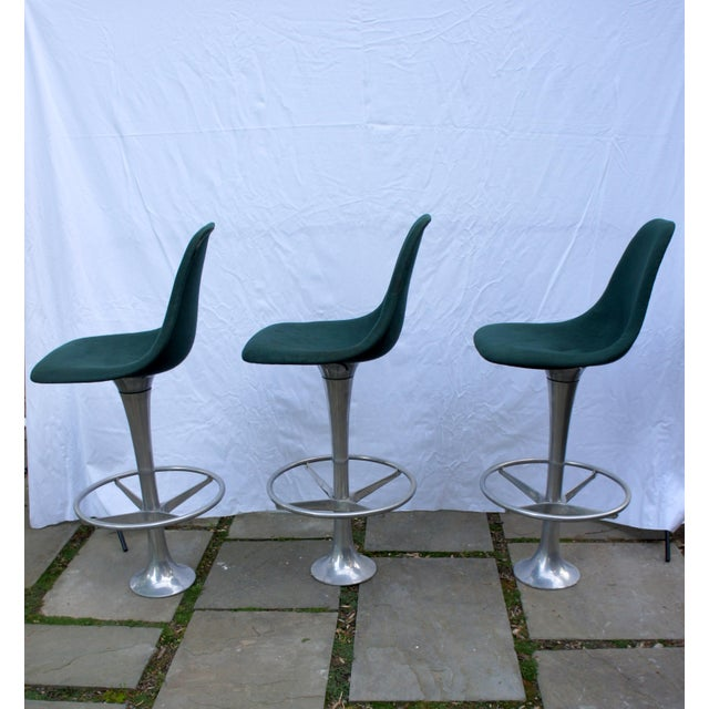 1960s Mid-Century Modern Green Floor Anchored Bar Stools - Set of 5 For Sale - Image 5 of 12