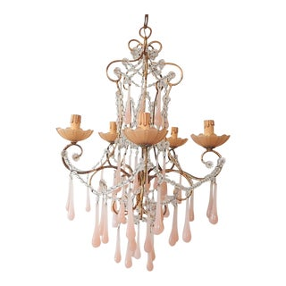 French Crystal Pink Bubble Gum Opaline Drops Bobeches and Beads Chandelier For Sale