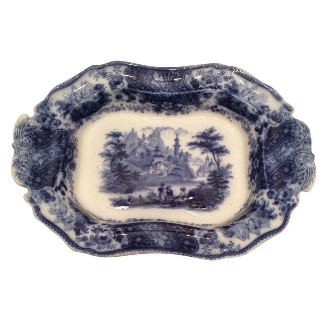 """Flow Blue 12"""" Footed Serving Dish - Image 1 of 10"""