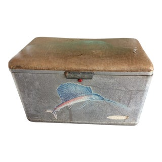 Vintage Metal Cooler with Swordfish Detail