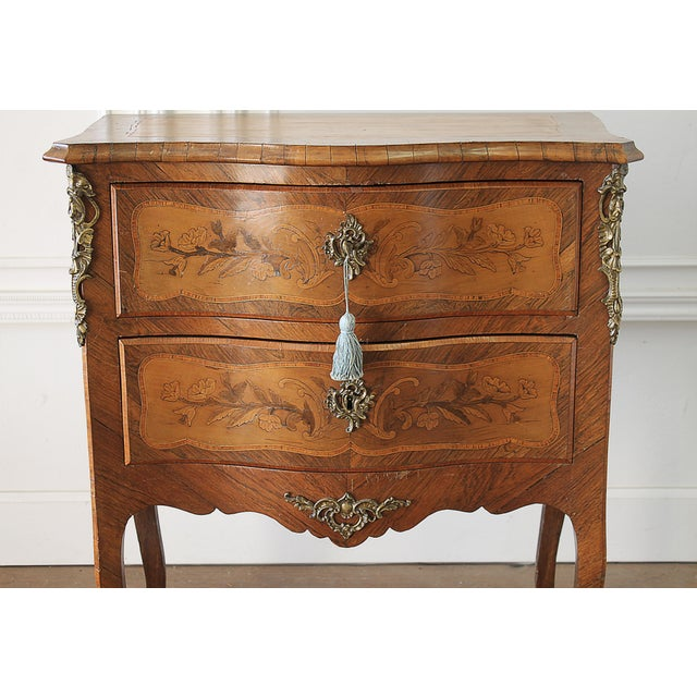 20th Century Louis XV style inlay commode with bronze mounts, a beautiful 2 drawer commode with wonderful floral a shell...